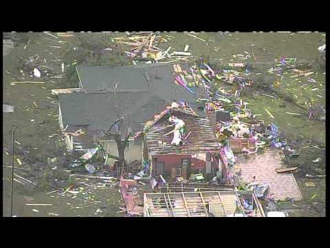 Aerial video of tornado destruction in Cleburne, TX (from KXAS) tornado 5/15/13 viewed 5/16/13