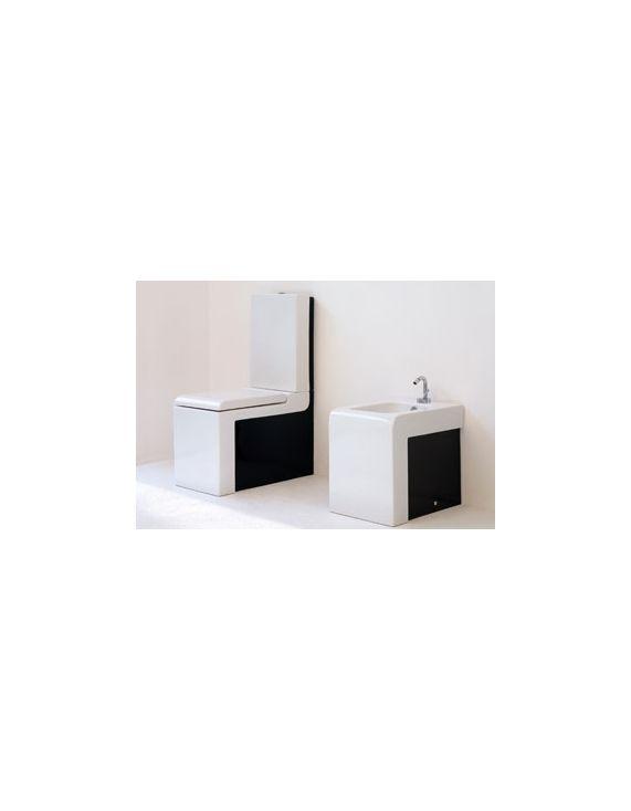 MonobloccoSort Lavabo  Lavabo Monoblocco Sort Gulvst. toalett 650x360 mm. m/sisterne og sete/lokk