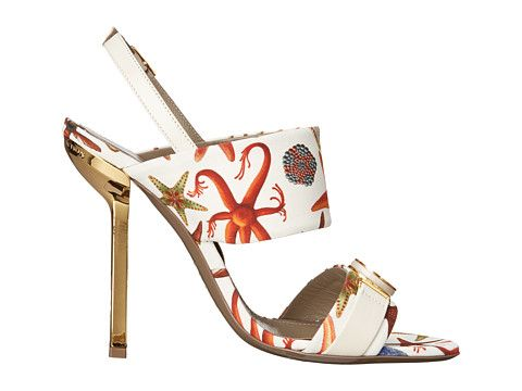 Versace Collection Oro Bizantino Printed Open Toe Heel Multi Bianco - 6pm.com