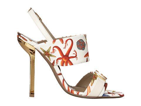 Versace Collection Oro Bizantino Printed Open Toe Heel Multi Bianco - 6pm.com