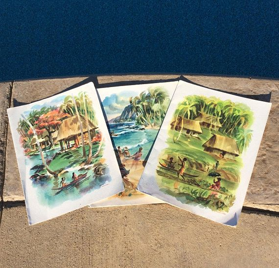 Gorgeous vintage set of three dinner menus for the cruise ship S.S. Matsonia. One is a special captains menu! 1957 watercolor menus of Fiji, Hawaii, & Samoa. All are in good vintage condition with minimal wear, ready to frame or place on coffee table for a unique conversation piece! Gorgeous colors of coastal & tropical blues, greens, yellow & orange! Artist signed L Macduillard. Measures each 12 height x 9 wide folded paper menus Thanks for shopping YellowHouseDecor! Check out ...