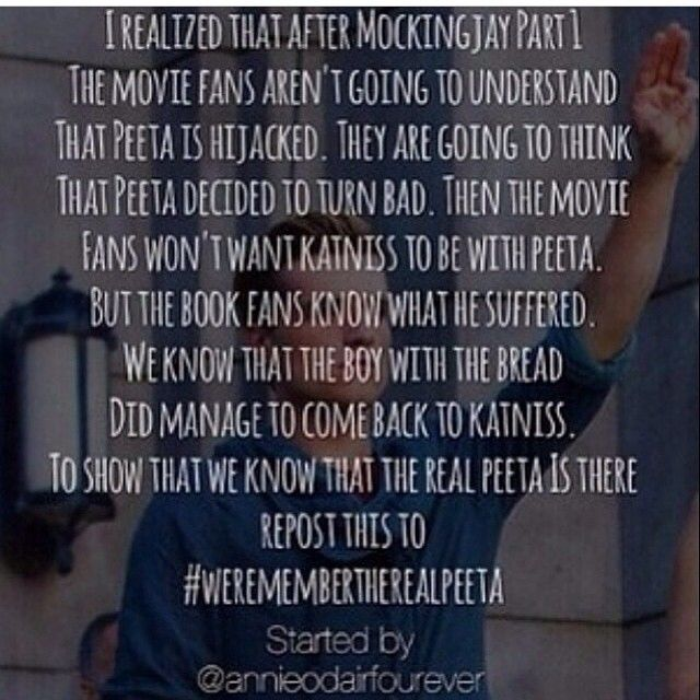 Haha movie fans! Please read and become one of us! #werembertherealpeeta