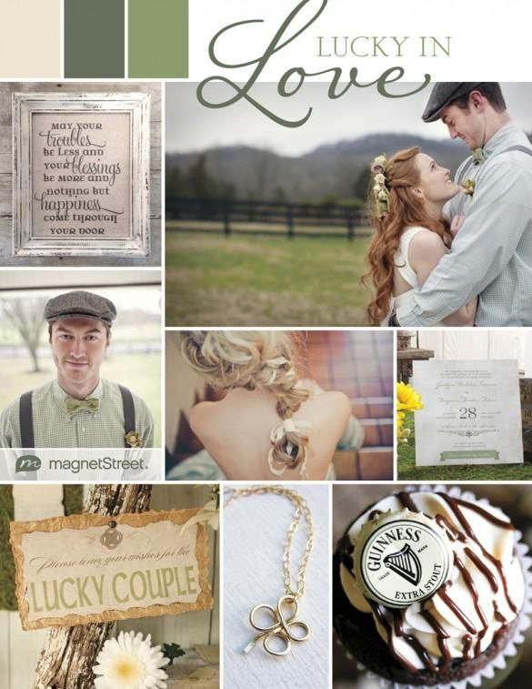 Rustic wedding invitation and inspiration for a St. Patrick's Day wedding.