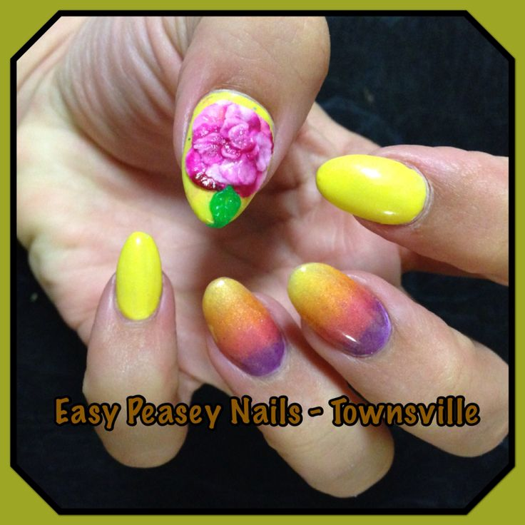 Shellac nails nailart nail fade ombré acrylic 3D rose pink sunset yellow