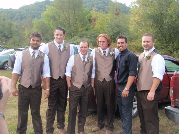 Heath Slater (Miller) & his groomsmen, including Justin Gabriel, Wade Barrett, & Dakota Darsow