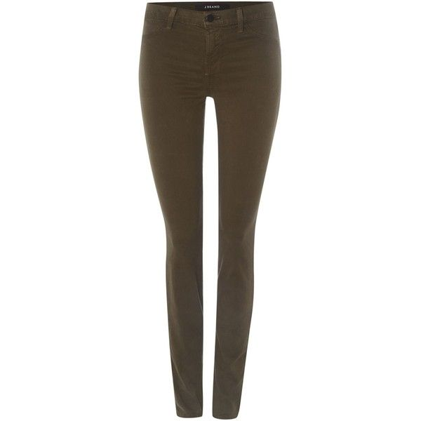 J Brand Mid rise luxe sateen skinny jean in camo green ($290) ❤ liked on Polyvore featuring jeans, khaki, women, brown skinny jeans, stretch jeans, khaki skinny jeans, j-brand skinny jeans and army green skinny jeans