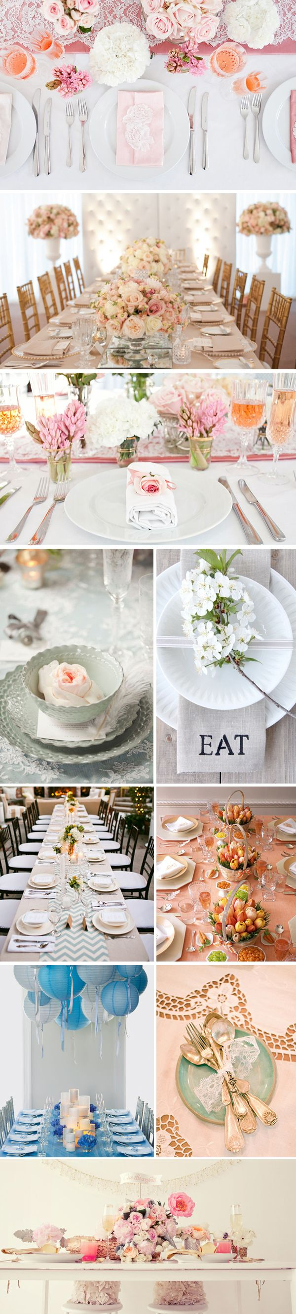 wedding table settings i like the pink napkin on the top pic & how the napkins hold the menus on the second pic. Just like Ashley want it
