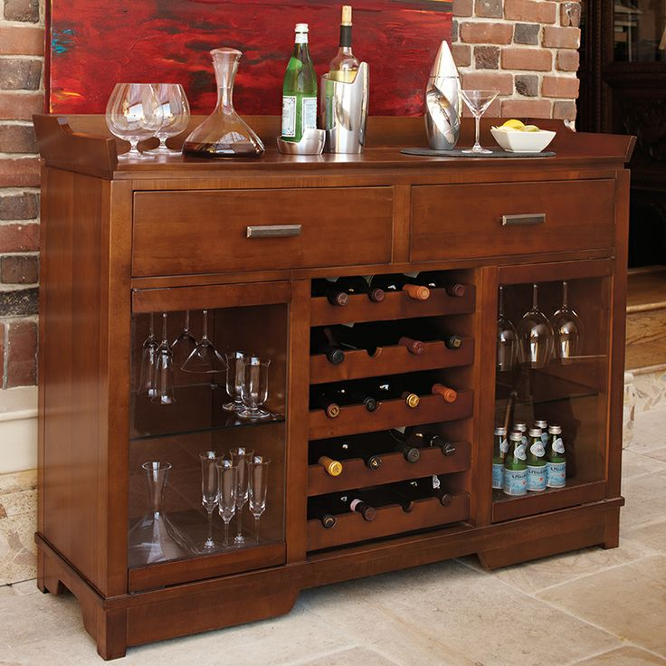 Kenwood Wine Bar In Dark Cherry With Doors For Showcasing Crystal Stemware Racks Side Compartments And Racking Wine Furniture Wine Bar Wine Cabinets