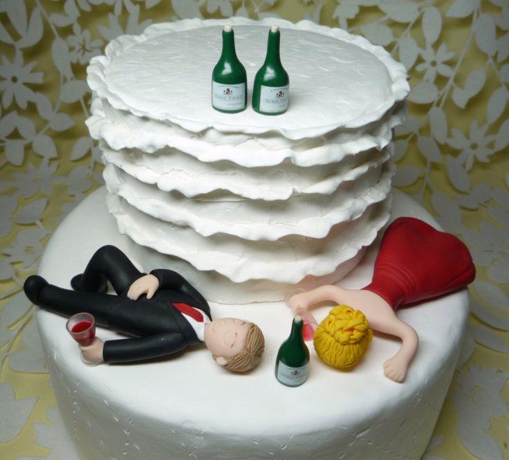 Custom Drunk Wedding Cake Topper sleeping style by BlueButterflyDesign on Etsy https://www.etsy.com/listing/233464822/custom-drunk-wedding-cake-topper