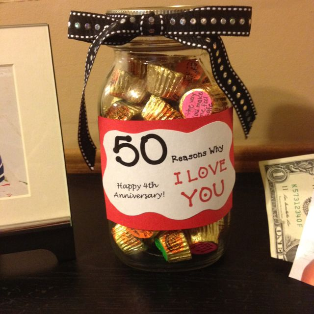 DIY Anniversary Gift Idea!!! 50 reasons why I love you!! Each Reese's cup has a different reason why I love him!! Very inexpensive and creative way to show that someone that you care!