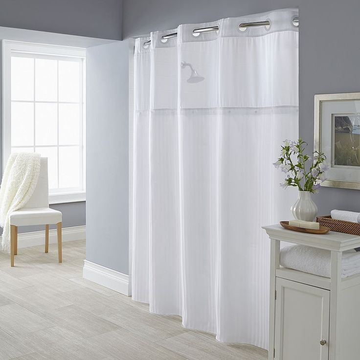 hookless shower curtain with snap on liner- white