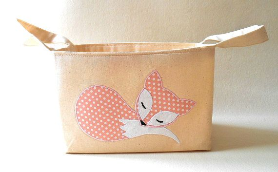 Fabric Basket in natural unbleached cotton, and an appliqued soft pink with spots sleeping fox at the front. Made with 100% cotton fabrics and