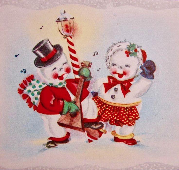 #retrochristmas Vintage Christmas Card. 1940's Christmas Card. Retro Snowmen. Singing Snowmen.