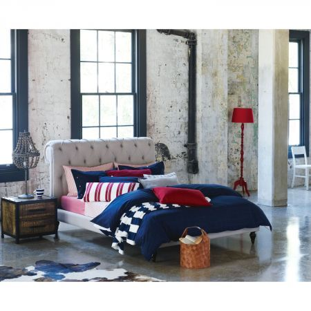 Chester bed with navy and red linen styling