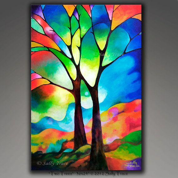 Pintura original árbol abstracto pintura árbol de la vida