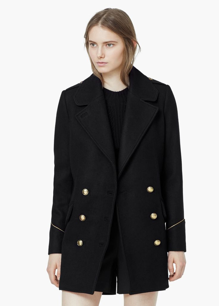 Double-breasted wool coat - Coats for Women | MANGO