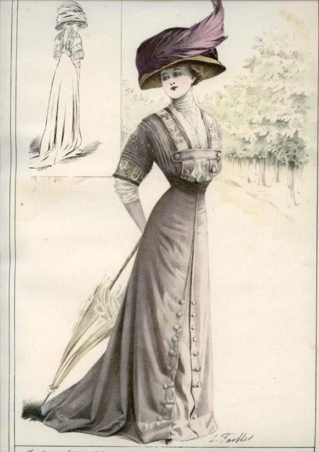 1908 fashion plate La Mode Pratique, pretty button trims on bodice & down skirt