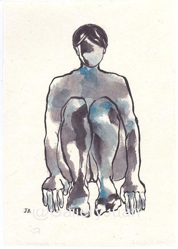 Ik schetste de figuur met potlood en sumi inkt en een naakt vrouwelijke figuur met inkt en aquarel geschilderd.  Dit kleine, originele schilderij is op Japans rijstpapier. Het schilderij is gespoten met een sealant en gemonteerd op dikkere rijstpapier. Rijstpapier is duurzaam en gebruikte in de kunst.  Eerste afbeelding is de volledige schilderij.  Mijn initialen zijn linksonder op het pictogram met mijn naam, de date(2009) en de titel op de achterkant. U koopt het originele schilderij…