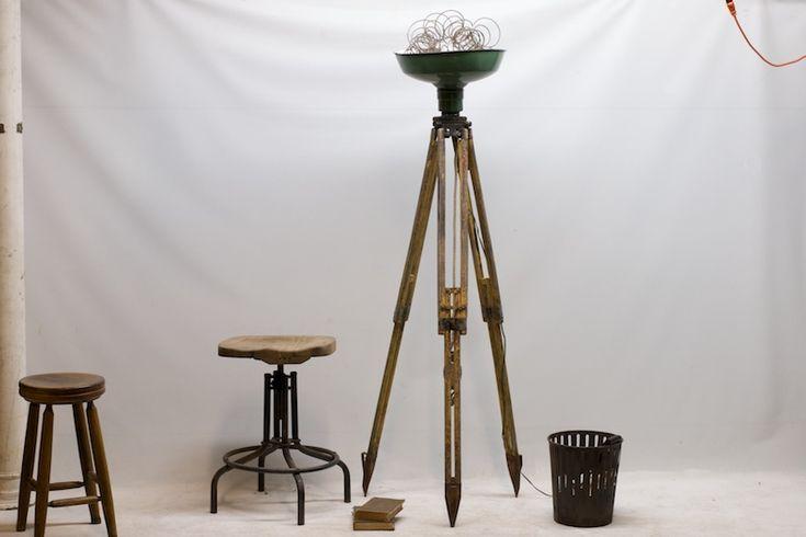 Vintage floor lamp and stools