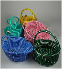 Basket made from a garden hose. Make and fill these with housewarming gifts for a New Home Owner!