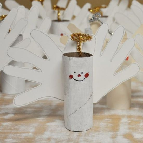 Toilet Paper Roll Angel - also great idea to use hands for turkey feathers