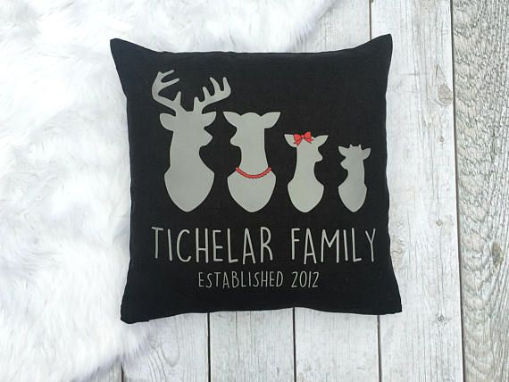 PERSONALIZED FAMILY REINDEER pillow cover. :: 18x18 Pillow Cover - INSERT SOLD SEPERATELY :: :: Lightweight fabric with zipper bottom :: :: Choose from charcoal, light grey, taupe, or natural pillow cover color. :: :: Choose charcoal, grey, white, silver, gold, or light pink