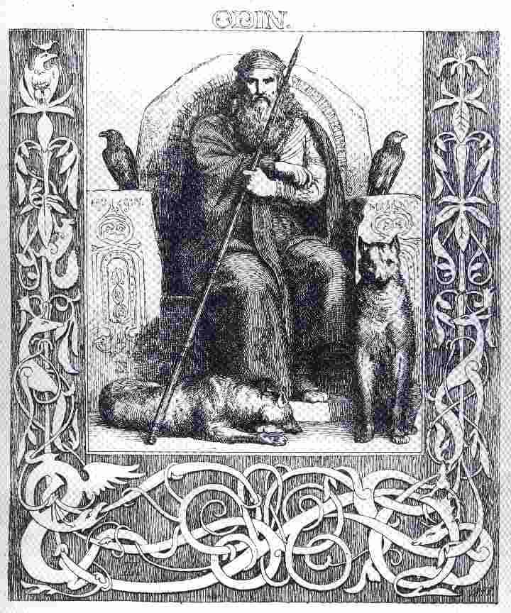 Odin with his wolves Geri and Freki - and his ravens Huginn and ...