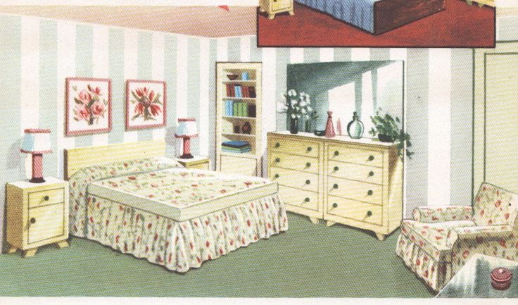 1950s Bedroom Decor Mid Century House Interior Design Furniture Furnishings Vintage House