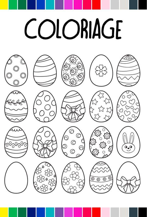 Pour Paques On Donne De La Couleur Aux œufs Coloriage