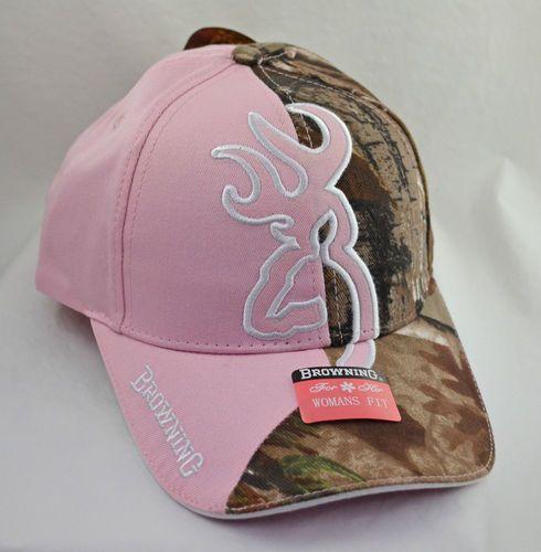 Ladies 1 2 Pink 1 2 Real Tree Camo Browning Cap | eBay