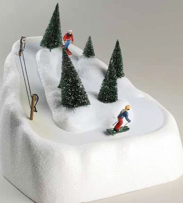 Department 56 Village Animated Ski Slope 2 Skiers Power