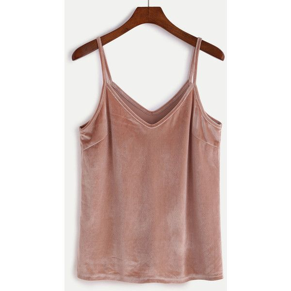 Pink Velvet Cami Top ($9.90) ❤ liked on Polyvore featuring tops, pink, sexy camisole, pink camisole, sexy cami, brown cami and brown camisole