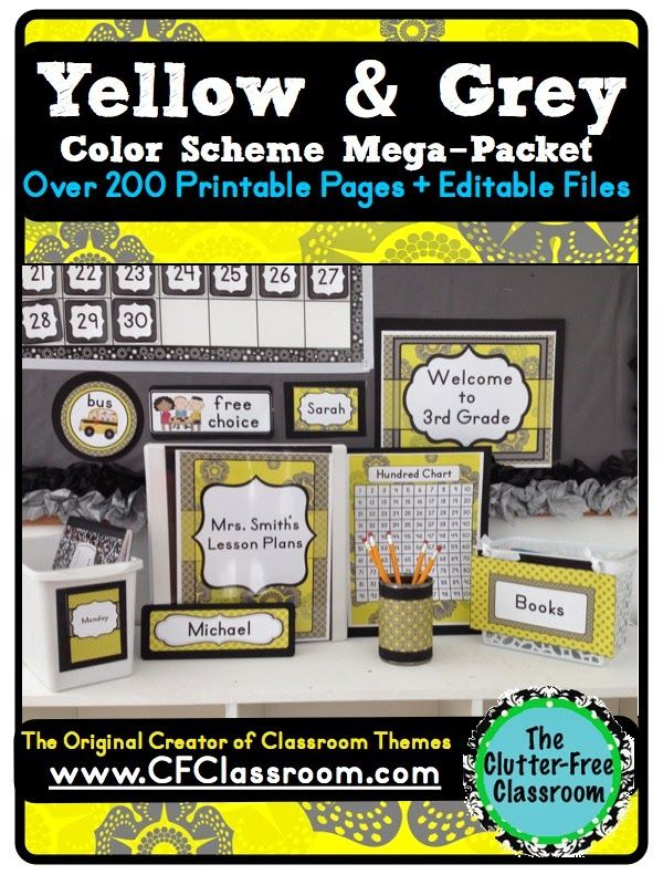 YELLOW & GREY MODERN PATTERNS CLASSROOM COLOR SCHEME - A collection of over 32 different all-inclusive classroom decor & essentials bundles that come in a variety of colors & patterns (including chevron / polka dots). It includes photos/images to help & inspire you to create an organized, colorful, beautiful classroom using affordable printables. :) Jodi from The Clutter-Free Classroom www.CFClassroom.com