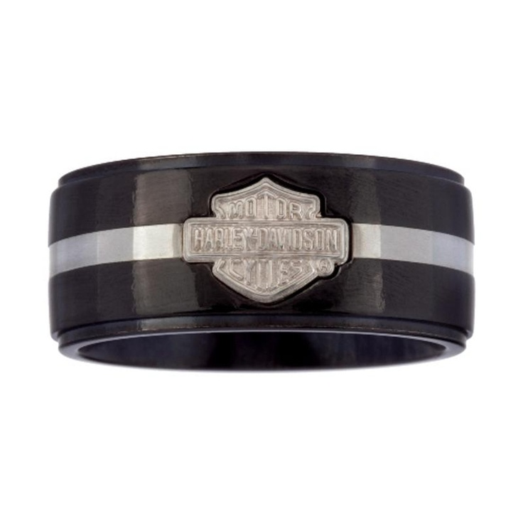 harley davidsonr men39s black titanium ring with silver With mens harley davidson wedding rings