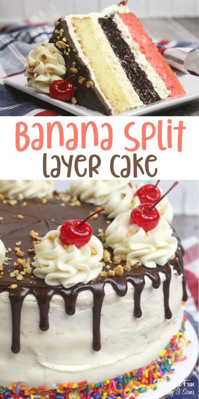 Banana Split Cake with layers of strawberry, vanilla and chocolate cake that loo…
