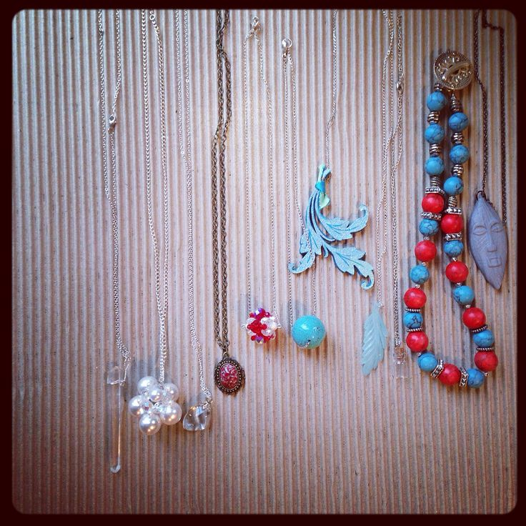 A small part of my recent handmade bohemian layering necklaces.