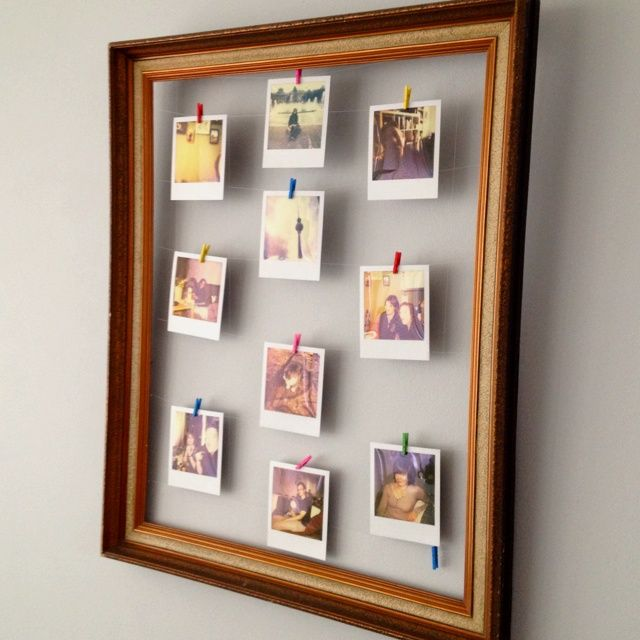 I Used The Frame Of An Old Painting To Hang Up My Polaroid Pictures.