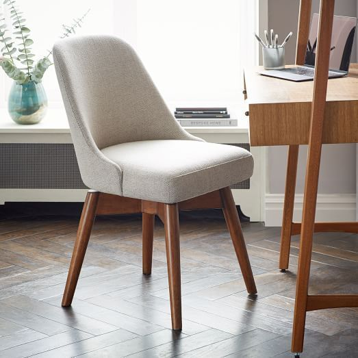Photo of Mid-Century Upholstered Dining Chair – Wooden Legs
