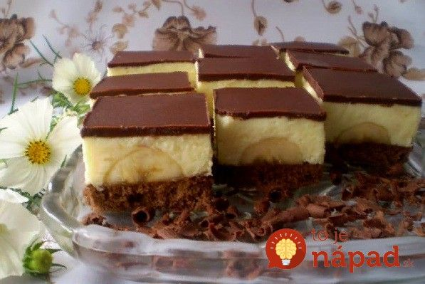 Pochúťka nie len ku kávičke - banánovo-čokoládové rezy. #recept #recipe #delicious #dessert #koláč #dezert #tojenapad