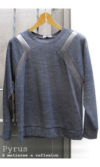 Eple & Melk Sweat Exocet cuir noir #soldes #promo #onsale #sales #vetement #clothing #fashion #sweat #pull #cuir #leather #pyrus #pyruslondon #black #noir #graphique