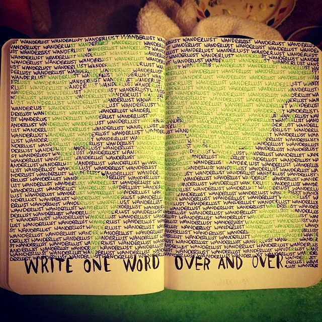 "Prachtige pagina van @handiangel, ""Just finished this page in my #wreckthisjournal #wanderlust"""