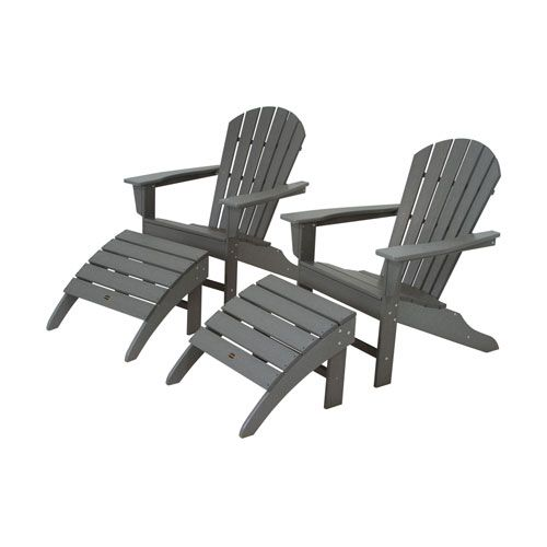 South Beach Four Piece Adirondack Set In Slate Grey Polywood Adirondack Chairs Patio Chair