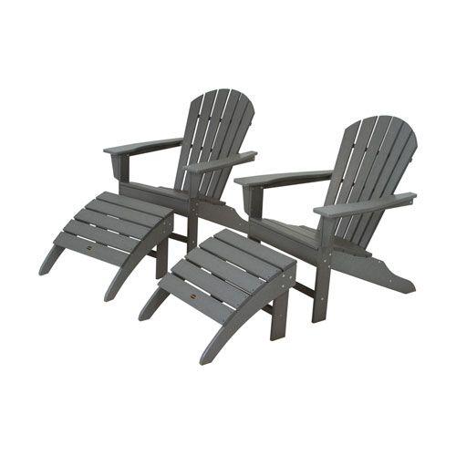 South Beach Four Piece Adirondack Set In Slate Grey Polywood Adirondack Chairs Patio Chair