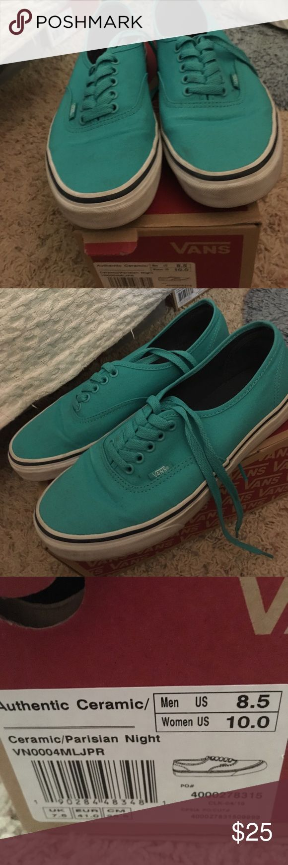 Authentic Teal Vans Worn a few times but in great condition Vans Shoes Athletic Shoes