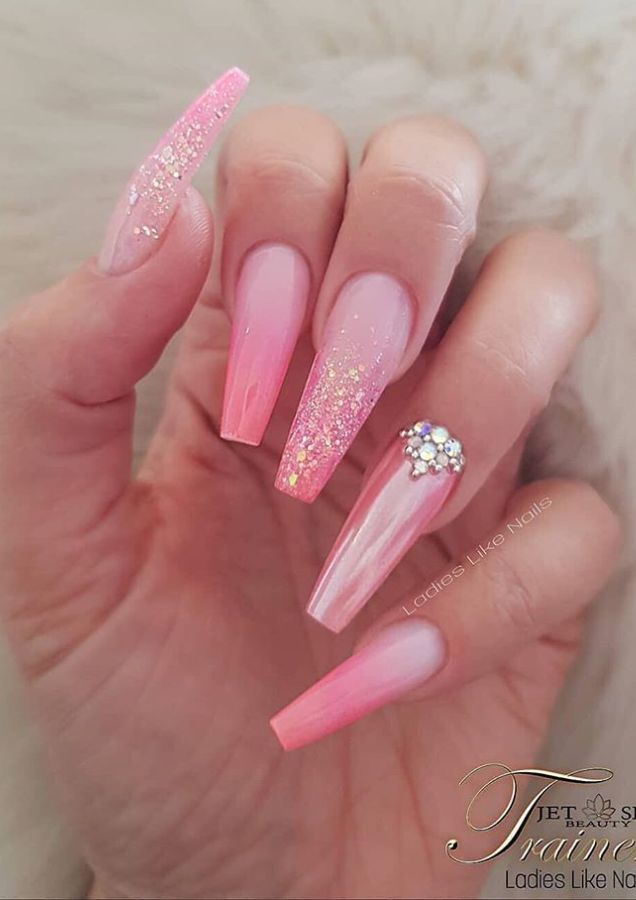 60 Bling Acrylic Coffin Nails Design With Rhinestones Pink Acrylic Nails Nails Design With Rhinestones Coffin Nails Designs