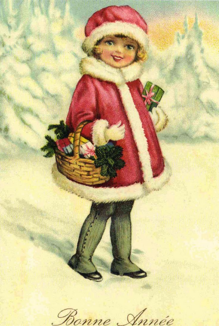Старые, ретро картинки рождество дети