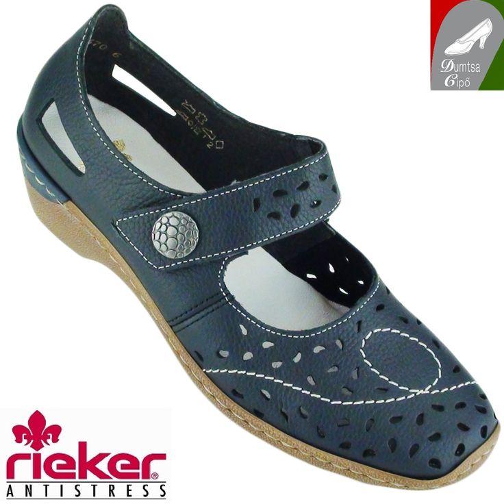 """Cikkszám: 48356-14 kék  Puha bőrből készült, könnyű, tavaszi/nyári női bőr cipő a Riekertől. Ez a modell is """"antistress"""" tulajdonságokkal rendelkezik. Keresztpántja tépőzárral rögzíthető. A  cipőt a lyukacsos felső része szellőssé, puha talpbélése kényelmessé teszik akár egész napon át.  anyaga:   felsőrész: bőr  belsőrész: bőr/szintetikus  talp: szintetikus  sarokmagasság: 3,5 cm  szín: kék  Ár: 18 490 Ft"""