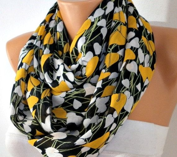 ON SALE - Heart Infinity Scarf Shawl Circle Scarf  Loop  Scarf Gift -fatwoman - LOVE  yellow white black green