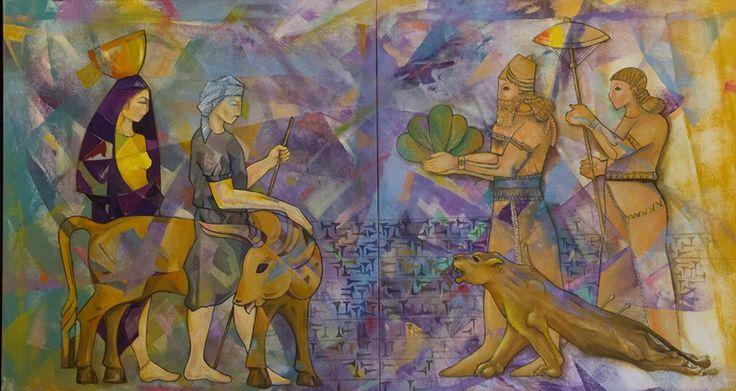 The commandment oil on canvas 90 x 14 Artist Firas Albasry