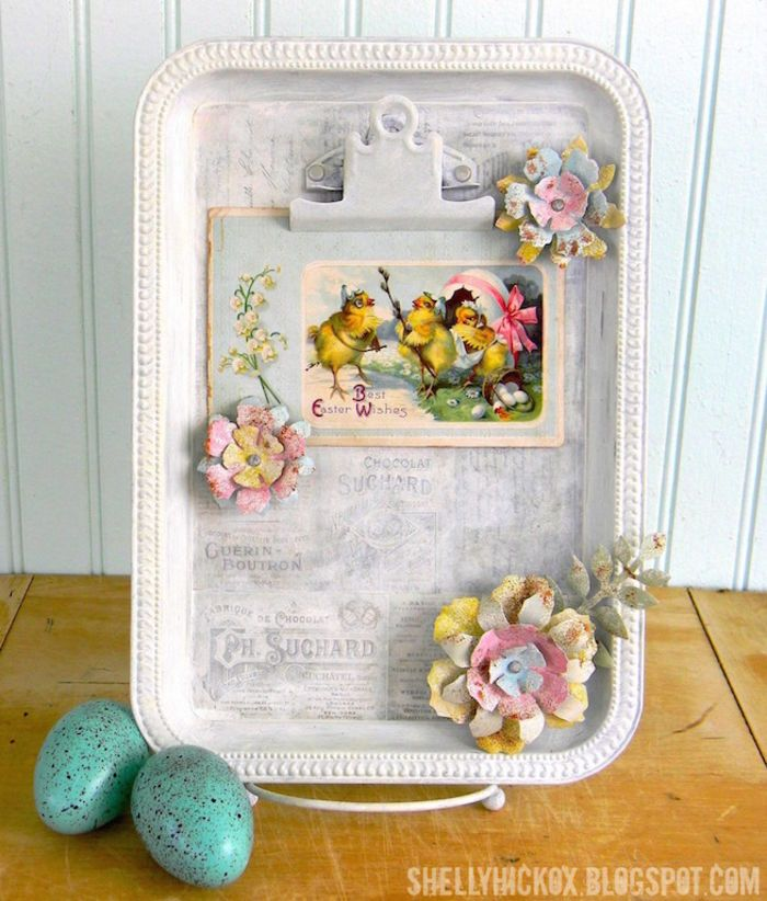 Cookie Sheet Magnet Board Ideas | Cookie Sheet Magnet Board with Shabby Flower Magnets